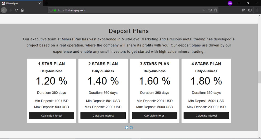 Screenshot of fake mineral pay interest rates