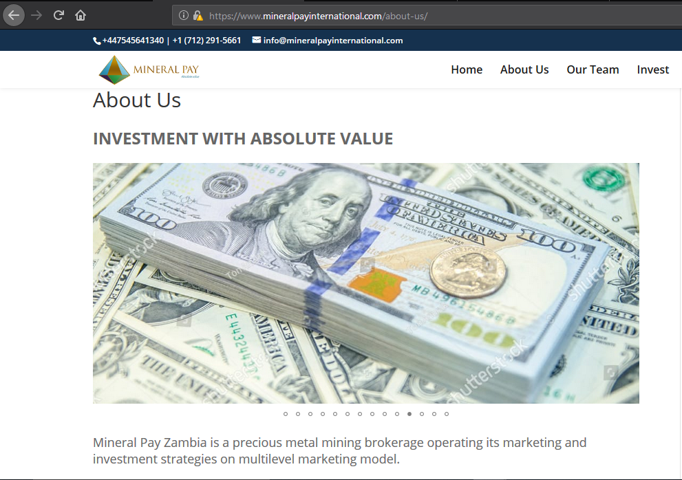 watermarked picture of dollars on mineral pay website
