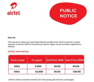 Airtel Money Zambia fees off-net transfers